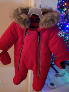 0-3 months snowsuit with handmade beautiful hat