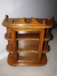 Oak Curio display Cabinet Wall mount or free standing
