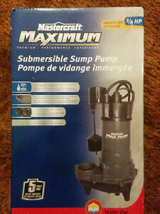 New Mastercraft Maximum 3/4 HP Submersible Sump Pump