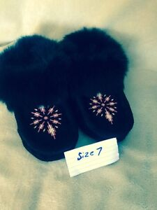 New authentic leather and fur moccasins