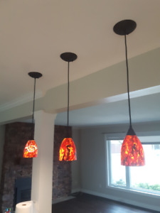 Pendant Lighting Set of 3 Painted Glass