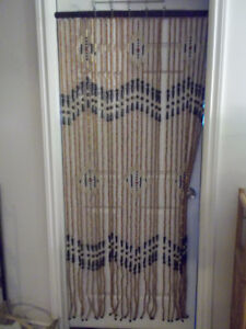 Beaded Curtain,  Wooden, Vintage