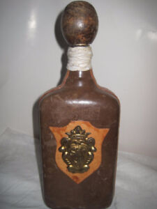 Vintage Custom Leather Wrapped Glass Bottle Made in Italy