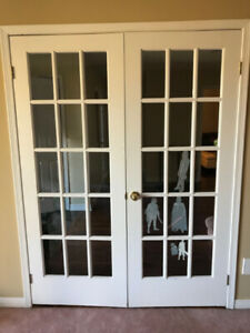 2 sets of original antique glass pane doors