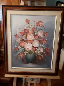 S. Reid original oil - lovely pink hued flower arrangement