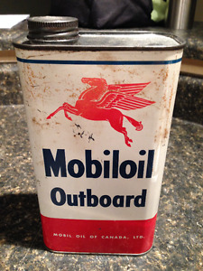 Mobiloil Outboard Motor Oil Can (Canadian)