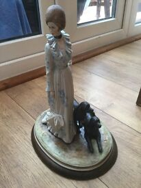 Large figurine of lady and her dogs by B Merli signed and numbered 227