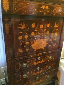 SOLID WOOD - MARQUETRY / INLAYED  ANTIQUE SECRETARY / DRESSER