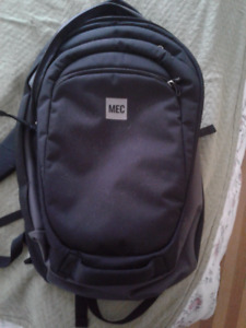 Black MEC Backpack with padded laptop pouch used