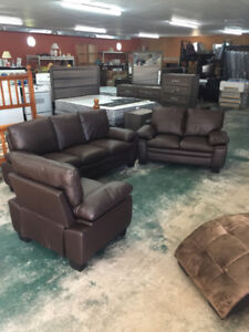 BRAND NEW 3 PIECE BONDED LEATHER SOFA, LOVESEAT AND CHAIR SET