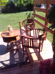 3 piece teak wood bois teck 2 chairs chaises and table