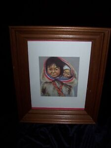 INUIT SISTER WITH LITTLE BROTHER ON BACK PRINT by FRANCIS