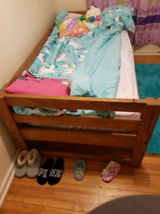 Twin over double solid wood study bunk bed