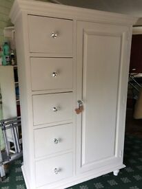 Shabby chic wardrobe with drawers