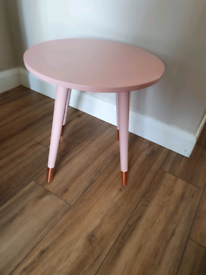 Blush pink side table with rose gold legs