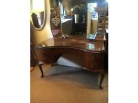 Beautiful Walnut Kidney Shaped Glass Top Dressing Table with 3 Way Mirror - CAN DELIVER