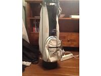 Spalding golf caddy with 3 made in Scotland gold clubs