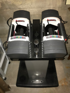 Powerblock U90 dumbell weights with stand / Poids Altères