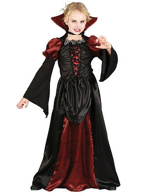 Child Scary Vampiress Fancy Dress Costume Halloween Kids Girls Female BN