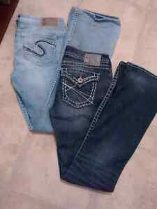 Ladies silver jeans New to mint condition for both pair