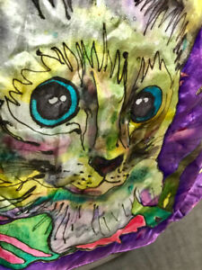 Sale!Laurel Burch 100% Silk Art Cat Pattern Designer Scarf. New.