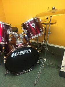 5 Piece Westbury Drum Kit + 3 Cymbals