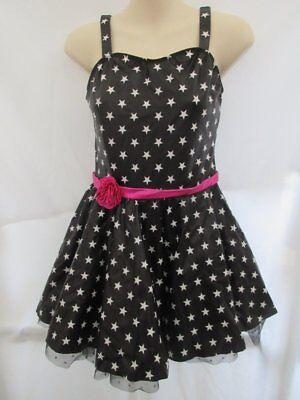Black White Stars Jazz MT Tap Dress Dance Costume XL Child - White Jazz Kostüm
