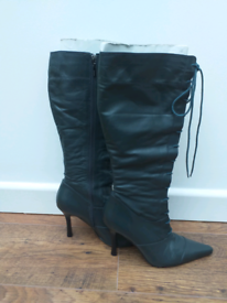 River Island ladies soft leather high leg boots.