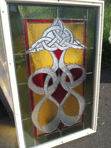 STAINED GLASS  DOOR INSERT -----  CELTIC KNOT