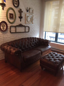 High-End Leather Sofa & Ottoman with Tufting