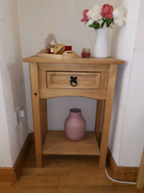 CORONA 1 DRAWER CONSOLE TABLE WITH SHELF MEXICAN SOLID WAXED PINE
