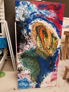 Peinture abstraite 24x48 pouces