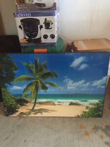 Palm tree and ocean planked picture - 6$