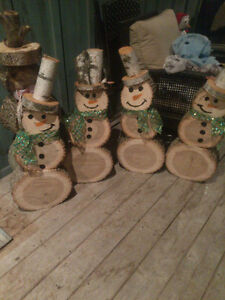 Wooden snowman décor hand crafted