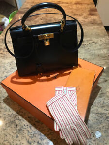 HERMES BLACK LEATHER VEAL Kelly Sellier 28 IMPECCABLE