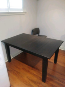 Black Ikea Extending Dining Table For Sale