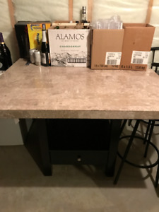 "REDUCED! - MONARCH 48"" GRANITE SQUARE TABLE and bar stool chairs"