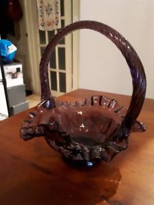 Handpainted violet depression glass basket