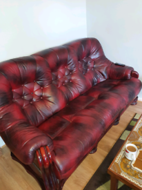 3px Real Leather and solid wood sofa set with foot rest
