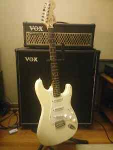 Gorgeous Pure White Fender Strat and Marshall Amp!!