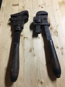Vintage 12 inch wrenches, clean and in great working condition.