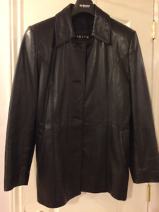 Women's vintage leather car coat (fits as med to large)