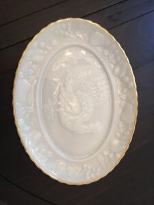 Milk glass turkey platter