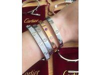 Cartier 18k love screw bracelets silver gold and rose gold