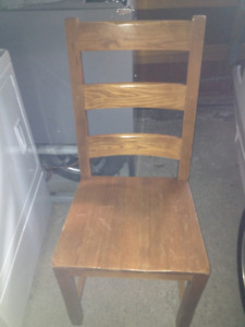 Solid Wood Ladder Back, Oak Finish Square Dining Chairs Set of 2
