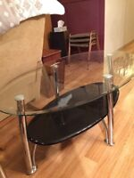 Ashley Furniture Coffee Table + 2 end tables beveled glass