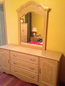 Pine armoire, dresser with mirror and one night stand