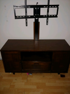 Solid wood TV stand with mount