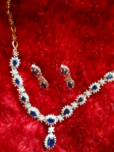 Simply Stunning Diamond and Sapphire Necklace and Earrings