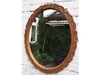 Wooden carved mirror vintage mirror oval mirror